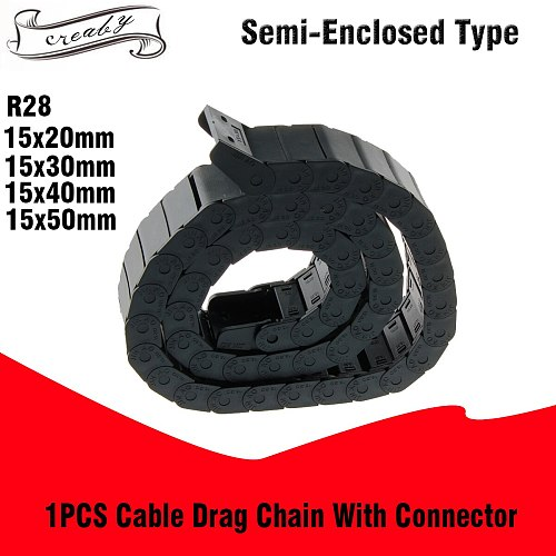 R28 15x20mm 15x30mm 15x40mm 15x50mm Bridge Outside Opening Type Black Plastic Cable Drag Chain Wire Carrier 1M Length for CNC