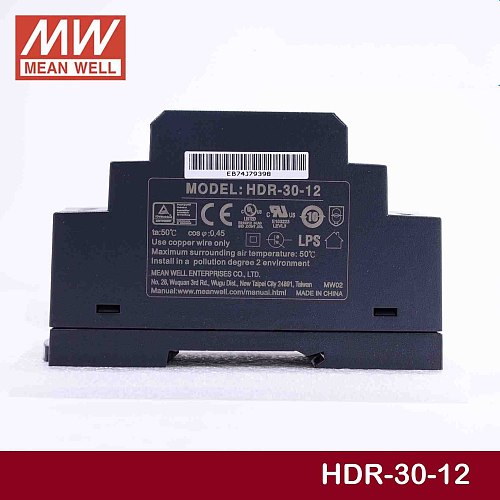 Steady MEAN WELL HDR-30-12 12V 2A meanwell HDR-30 24W Single Output Industrial DIN Rail Power Supply