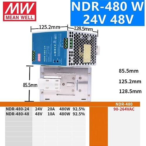 MEAN WELL NDR-75 120 240 480 series DC 12V 24V 48V NDR-75 -120 -240 -480 W 12 24 48 V Single Output Industrial DIN Rail