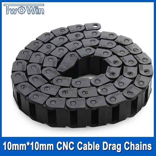 2Pcs 1Meter 10mm*10mm CNC Cable Drag Chains Plastic Towline for CNC Router Machine Tools with 4Pcs Drag Chain Connector