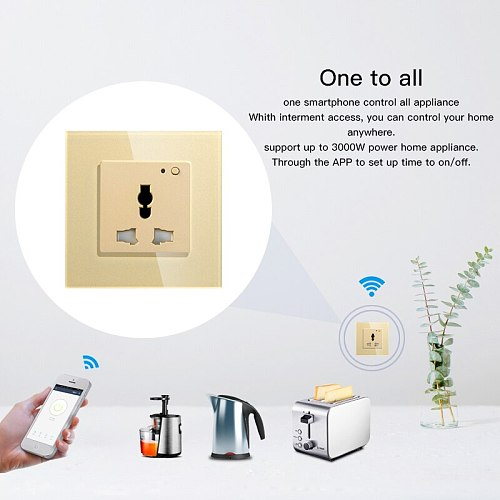 WiFi Smart Wall Socket Outlet Glass Panel Smart Life/Tuya APP Remote Control,Works with Amazon Echo Alexa Google Home EU FR UK