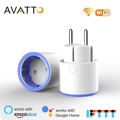 AVATTO Smart Plug 10A EU Remote Voice Control electric wall pop socket,power plug work with Tuya App Work with Google Home Alexa