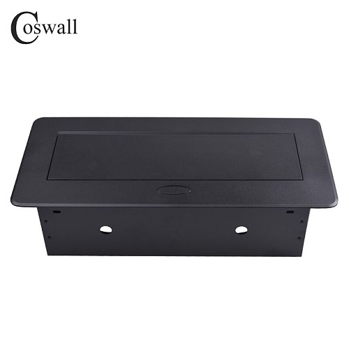 COSWALL Zinc Alloy Plate 16A Slow POP UP 2 Power French Socket Dual USB Charge Port 2.1A Office Table Outlet Matte Black Cover