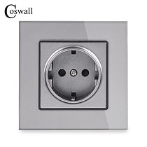 Coswall Crystal Glass Panel Wall Power Socket Grounded 16A EU Standard Outlet With Children Protective Door Gray Grey Color