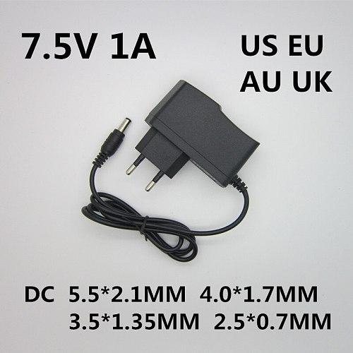 1pcs High quality dc 7.5v 1a 1000ma LED lamp power supply 7.5 V Volt the gauge plug the power adapter ac100-240v DC5.5 * 2.1mm