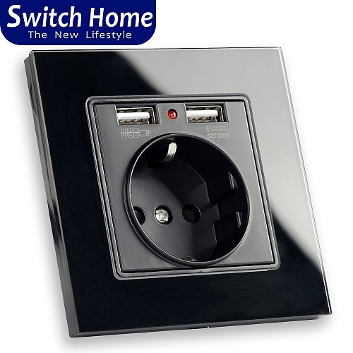 Switch home 2019 Wall Power Socket Grounded 16A EU Standard Electrical Outlet With 2100mA Dual USB Charger Port for Mobile