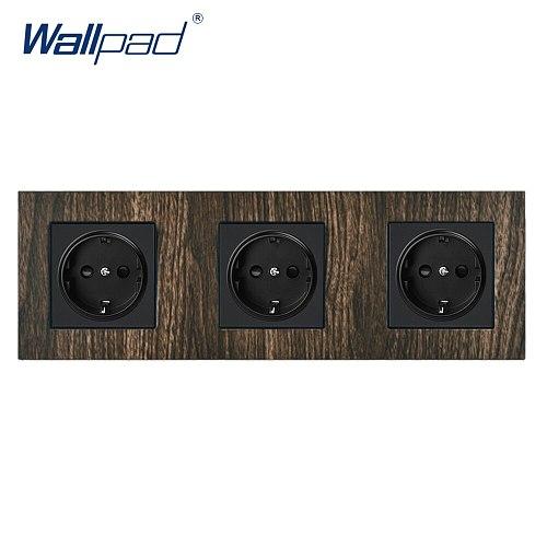 Triple EU Socket Wallpad Aluminium Satin Metal Frame Wood Schuko 3 EU Power Socket 110V-240V AC Wall Outlets For Home 258*86mm