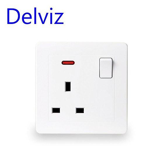 Delviz UK standard 13A wall socket panel, type 86 square hole, British square pin socket, AC 110~250V, Household, On-off control