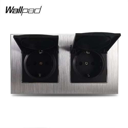 Metal Double EU Socket with Cap Wallpad 110V-240V AC Silver Satin Chrome Frame 16A EU European Wall Power Socket Claws Mount
