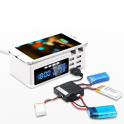 Multifunction Wireless Phone Charger Alarm Clock Station with 6 USB Ports Wireless Electrial Socket Temperature Display Desktop