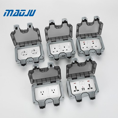 French EU UK British Germany European Chinese 2 Gang Waterproof Socket Enclosure Box Outdoor Outlet Weatherproof 13A 16A Plug In