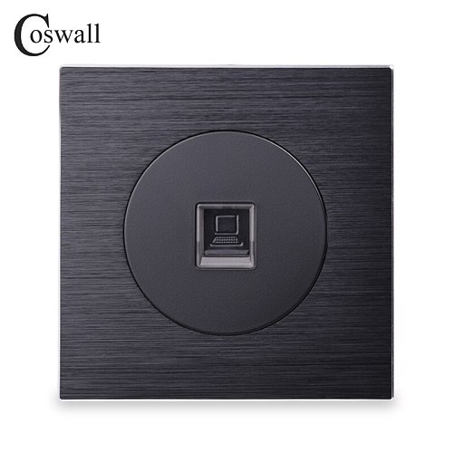 Coswall Luxurious RJ45 Internet Jack Aluminum Brushed Panel Computer Outlet Wall Data Socket Knight Black