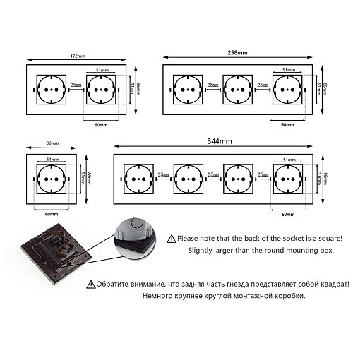 GY Series- DIY Parts Black Tempered Glass Panel Frame For Wall Switch Socket Frame Only Glass 86 172 258 344 430 * 86mm