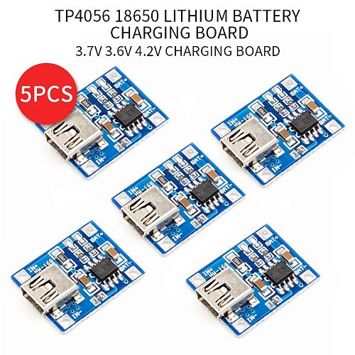 5pcs Micro USB 5V 1A 18650 TP4056 Lithium Battery Charger Module Charging Board With Protection Dual Functions 1A Li-