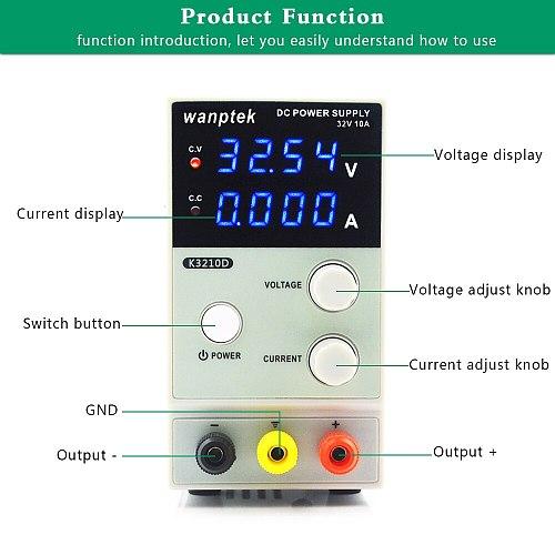 4 Digit Display 32V 10A DC Power Supply K3210D Adjustable Mini Laboratory Power Supply Voltage Regulator 30V 10A Upgraded versio