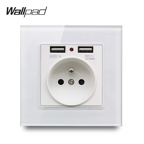 Wallpad S7 White and Black Glass Panel French Wall Socket with 2.1A 2 x USB Charging Ports, Single Power Outlet Plate