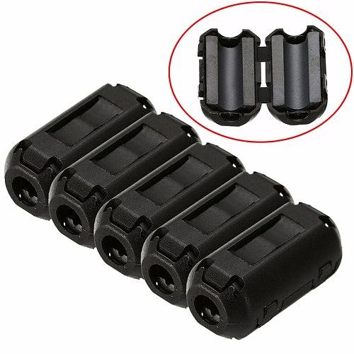 5pcs Ferrite Core Filters 3.5mm Noise Suppressor EMI RFI Clip Choke Ferrite Core Cable Filter For Power Cord AV Cable
