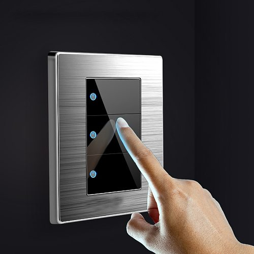1 2 3 Gang 1 2 Way Household Switch Socket type 86 wall with led brushed stainless steel mirror Reset switches 86*86mm