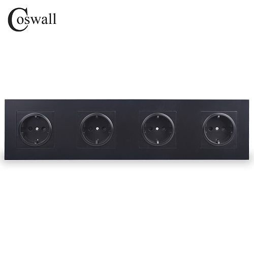COSWALL 4 Gang Wall Power Socket Grounded 16A EU Standard Quadruple Outlet With Childen Protective Door PC panel