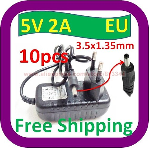10 piece Free Shipping 5V DC 2000mA (2A)EU plug Regulated Power Supply 3.5mm 1.35mm Tip Extra Adapter Charger