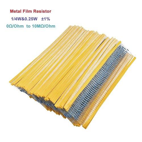 100Pcs 1/4W 0.25W 0~10M 1% Metal Film Resistor 100 220 330 1K 1.5K 2.2K 4.7K 10K 22K 47K 100K 150K 470K 2.2M 4.7M ohm