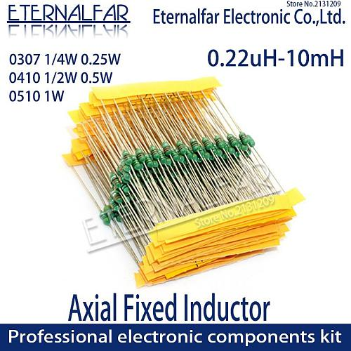 0307 1/4W 0.25W 1.8UH 1.8 18 UH 1R8K 18UH 180K Color Code Ring Inductors DIP Inductance TV Radios Electromagnetic Induction 47UH