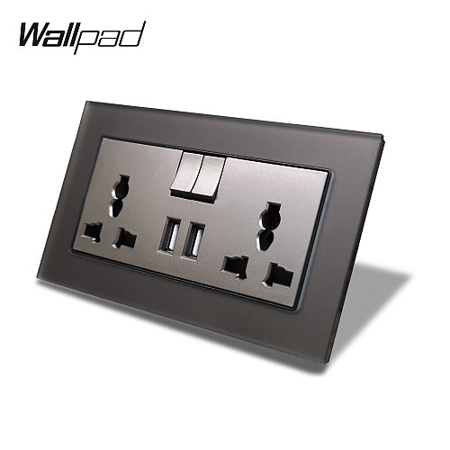S7 Grey Glass Multi Function Universal Double Socket with 2100mA Dual USB Charging Ports UK EU US Plug Tempered Glass