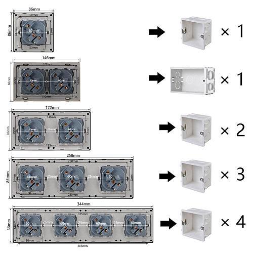 Atlectric EU Standard Plug Socket Dual USB Charging Port Home Wall Power Socket Double Triple Quadruple Socket Electrical Outlet