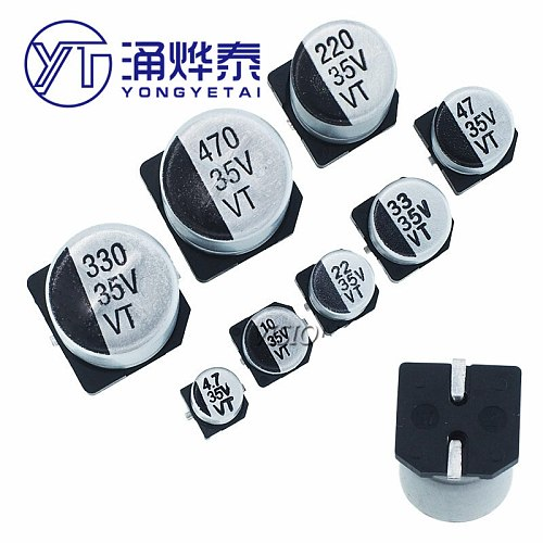 YYT Patch 35V Aluminum Electrolytic Capacitor 4.7UF/10UF/22UF/33UF/47UF/100UF/220UF/330UF/470UF SMD