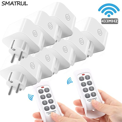 SMATRUL 8 keys Wireless Remote Control smart Socket EU Plug wall 433mhz Programmable Electrical Outlet Switch 220v 230v LED