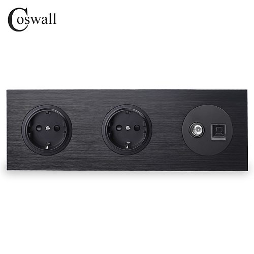 Coswall Black Aluminum Metal Panel Double EU Standard Wall Socket + Female TV Connector With CAT5E RJ45 Computer Jack R12 Series
