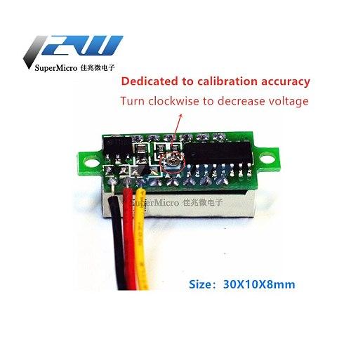 0.28 inch voltage meter head digital DC digital tube display three-wire DC0-100V battery voltmeter