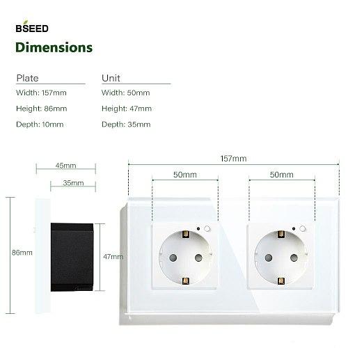 BSEED Double Socket  Wifi EU Standard Wall Socket 16A 110V-250V White Black Gloden Crystal Glass Panel Support For Tuya Google
