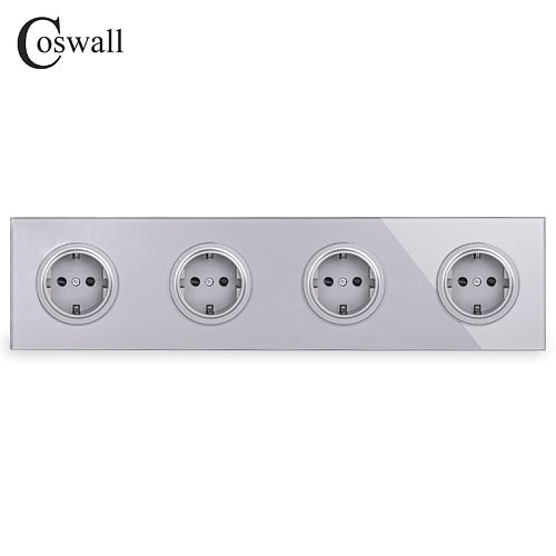 Coswall Gray Grey Crystal Tempered Glass Panel 4 Gang EU Standard Wall Socket Grounded With Child Protective Lock R11 Series