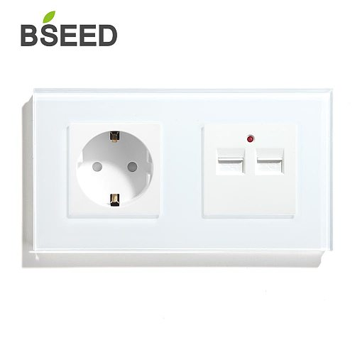 BSEED EU Standard Socket With Double USB Charger Wall Socket White Black Gloden Crystal Glass Panel 100V-240V