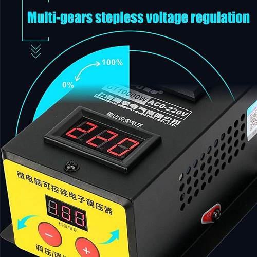 0-220V 10000W SCR Electronic Voltage Regulator  LED Display Temperature Speed Adjust Controller Dimming Dimmer Thermostat