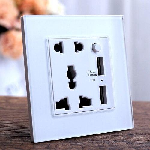 Universal 5 Hole Dual USB Charger wall power Socket, White Crystal Glass Panel, LED Indicato 5V 2.1A 2100ma Mobile Port socket