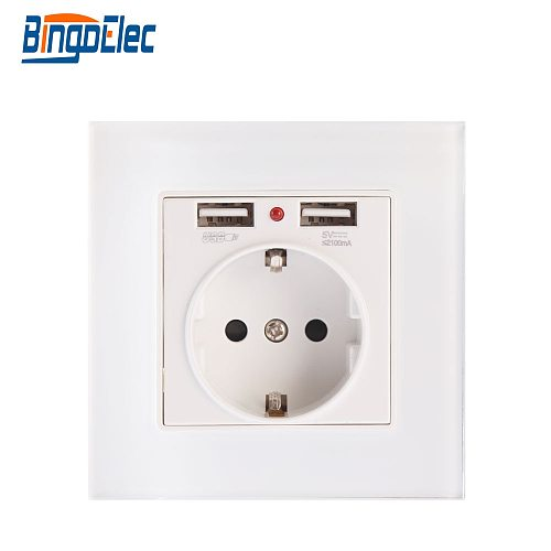 Bingoelec Power Outlet USB Charge EU Standard Glass Panel Electrical Germany Socket With Double 2.1 A USB Wall Plug