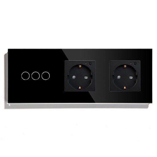 BSEED Double WiFi EU Sockets 3Gang Switch With White Black Gloden Crystal Glass Panel Control by Alexa Google Tuya