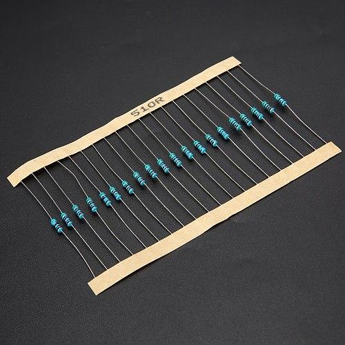 New 2000Pcs Metal Film Resistor 100 Values 1 ohm-1M ohm 1/4 Watt Metal Film Resistors Resistance Assortment Set