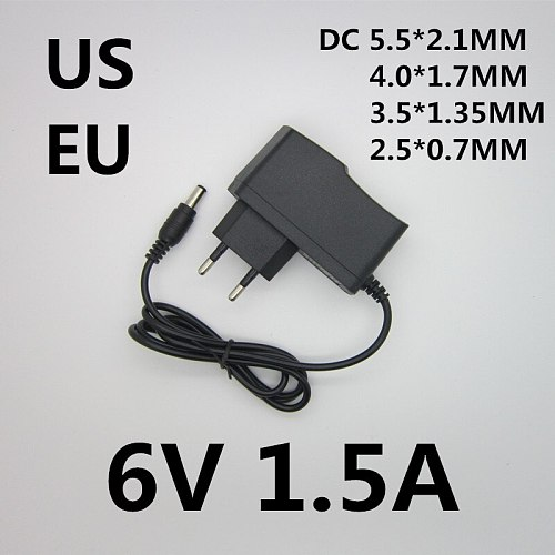 Best quality AC/DC Adapter DC 6V 1.5A AC 100-240V Converter Adapter 6V 1500MA Charger Power Supply EU US Plug