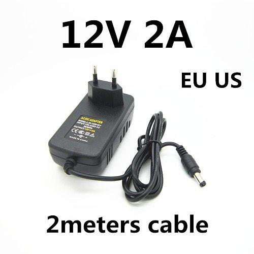 2M 2 meters cable AC 100-240V 12v 2a 2000ma charger power supply power adapter 12 V Volt for LED strip CCTV Camera EU US PLUG