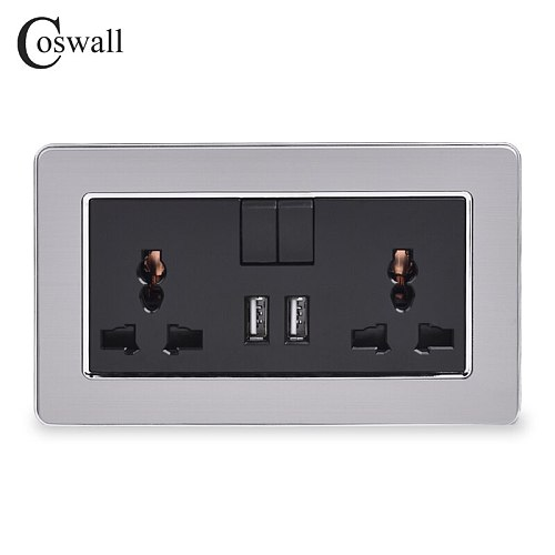 COSWALL 2 Gang 13A Universal Switched Socket dual USB Charge Port Output 2.1A Wall Outlet Stainless Steel Brushed Panel