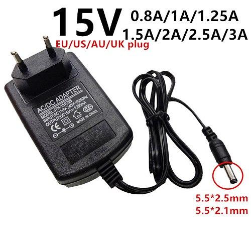 15V 15volt universal AC DC power adapter AC/DC Adaptor supply 15 V 0.8A 800mA 1A 1.25A 1250mA 1.5A 2A 2.5A 3A DC5.5*2.1/2.5mm ad