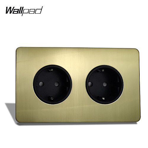 Wallpad Satin Gold H6 Double EU Wall Power Socket 2 Gang Electric Outlet Brushed Brass Stainless Steel Panel