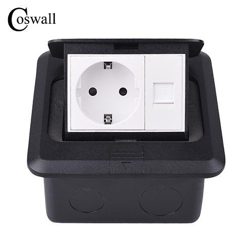 Coswall Aluminum Black Panel Soft Pop Up Floor Socket Russia Spain EU Standard Outlet With RJ45 CAT5E Internet Computer Jack