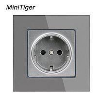 Minitiger Crystal Glass Panel Wall Power Socket Grounded 16A EU Standard Electrical Outlet Black White Gold Grey Colorful