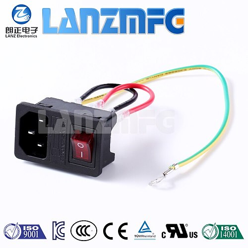 LZ-14-F3W AC power socket C14 type with fuse with rocker switches with three cables three-in-one card IEC socket