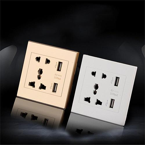 Dual USB Port Electric Wall Charger Port Dock Socket Power Outlet Electricity AC Power Panel Plate Wall Charger 5V 2100MA NEW
