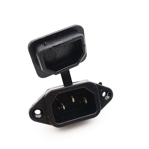 IEC320 C14 Ac 250V 10A Panel Mounted Male Power Inlet Socket Adapter Connector W Spring Loaded Cover